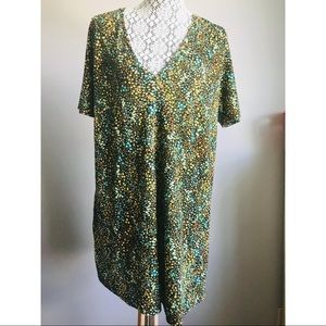Zara floral v-neck shirt tunic top L